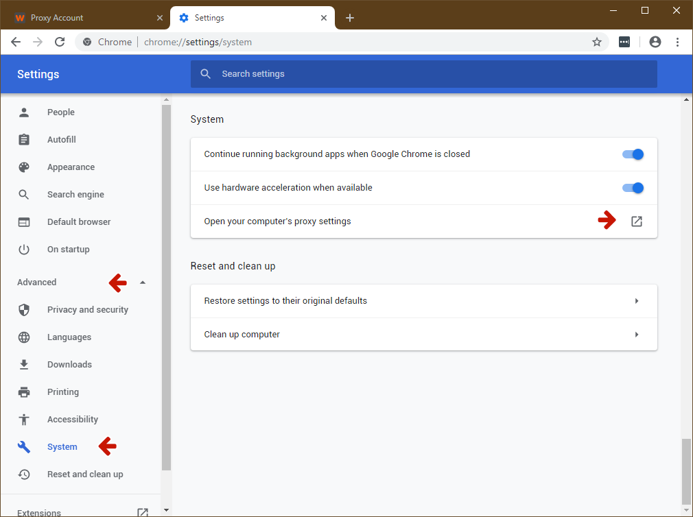 How To Set A Proxy Server In Google Chrome Knowledgebase Web Leader Net